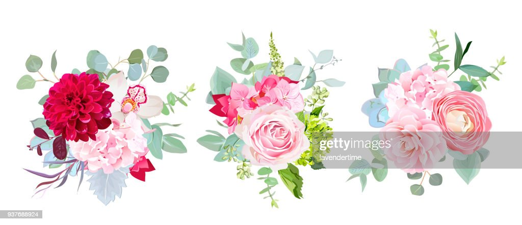 Wedding seasonal flowers vector design bouquets