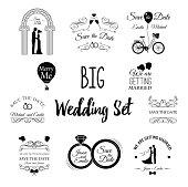 Wedding set Dress, couple, ring, invitation, bride, card, heart, groom,