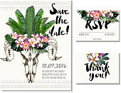 Wedding set with save the date, rsvp, thank you cards.