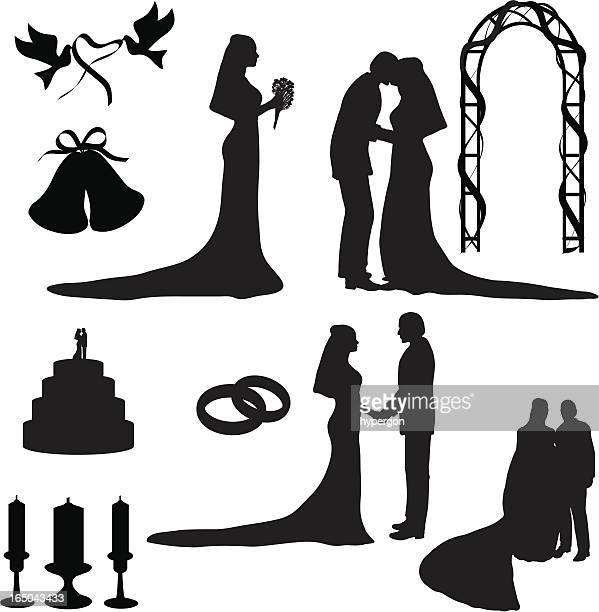 wedding silhouette collection (vector+jpg) - wedding cake stock illustrations