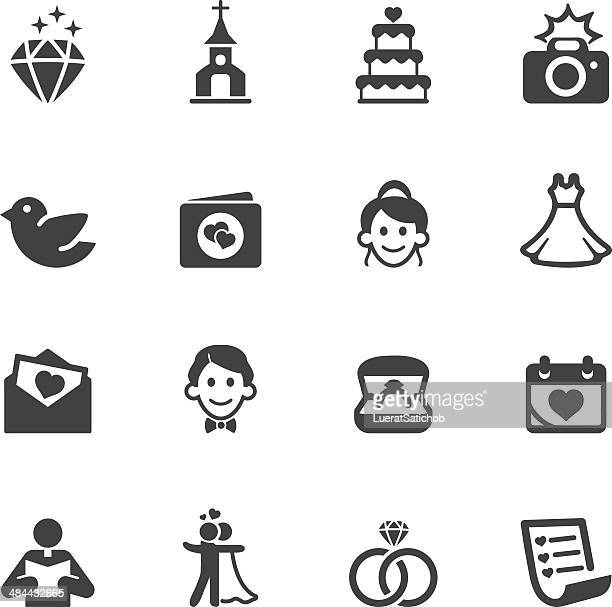 wedding silhouette icons 1 - girls flashing camera stock illustrations