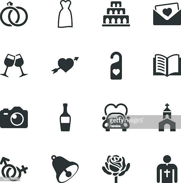 Icônes de mariage Silhouette