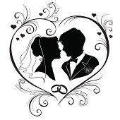 Wedding silhouettes in the hear frame