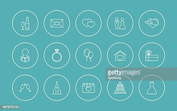 Icônes simples de mariage