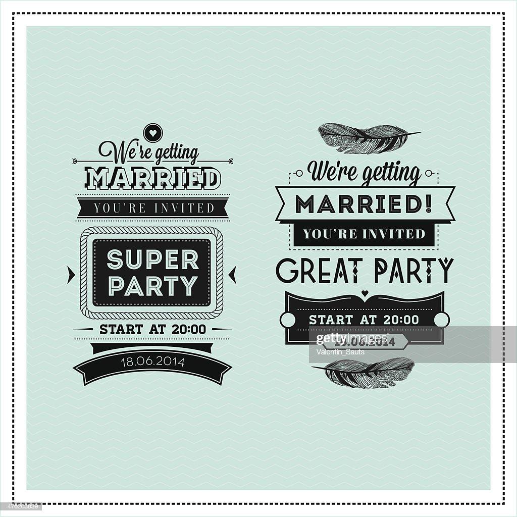 Wedding stamps typography
