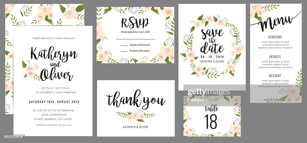 Wedding suite template with wreath flowers.