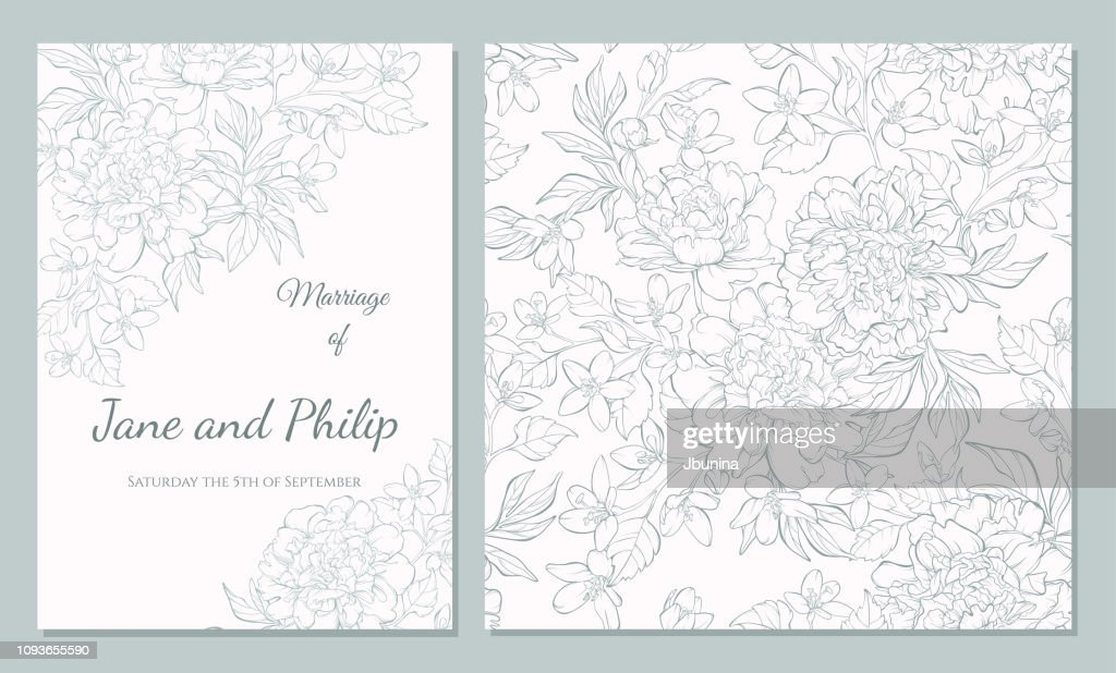 Wedding template set card with pion.
