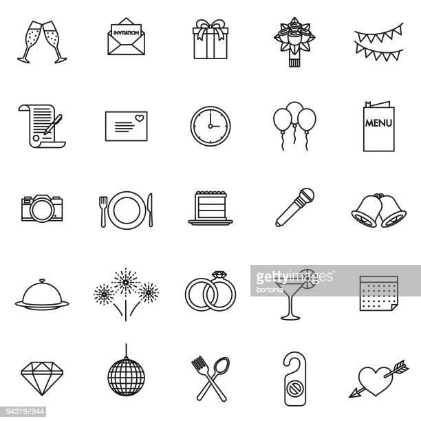 wedding thin line icon set - wedding cake stock illustrations