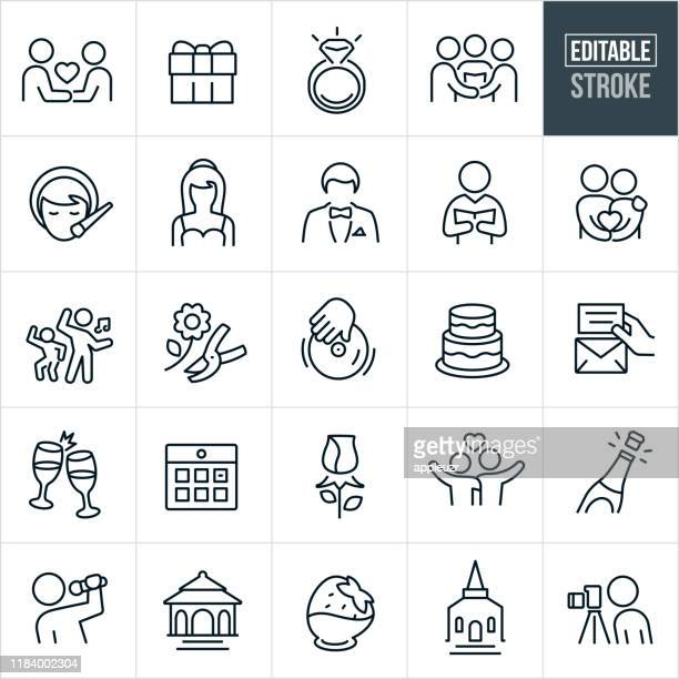 wedding thin line icons - editable stroke - married stock illustrations