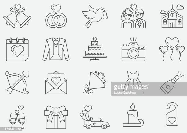 illustrations, cliparts, dessins animés et icônes de icônes de ligne mince de mariage - bouquet de fleurs