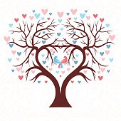 Wedding tree in the shape of  heart with two birds