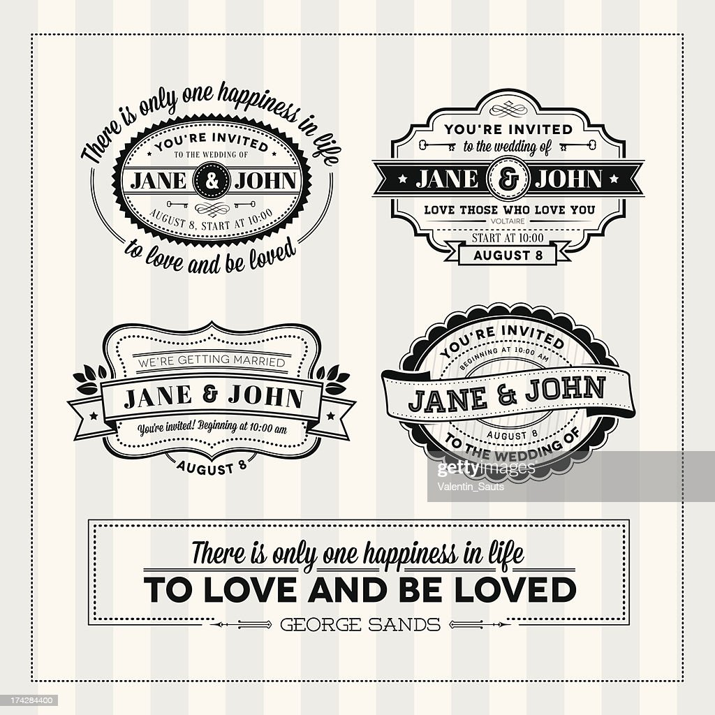 Wedding typography stamps