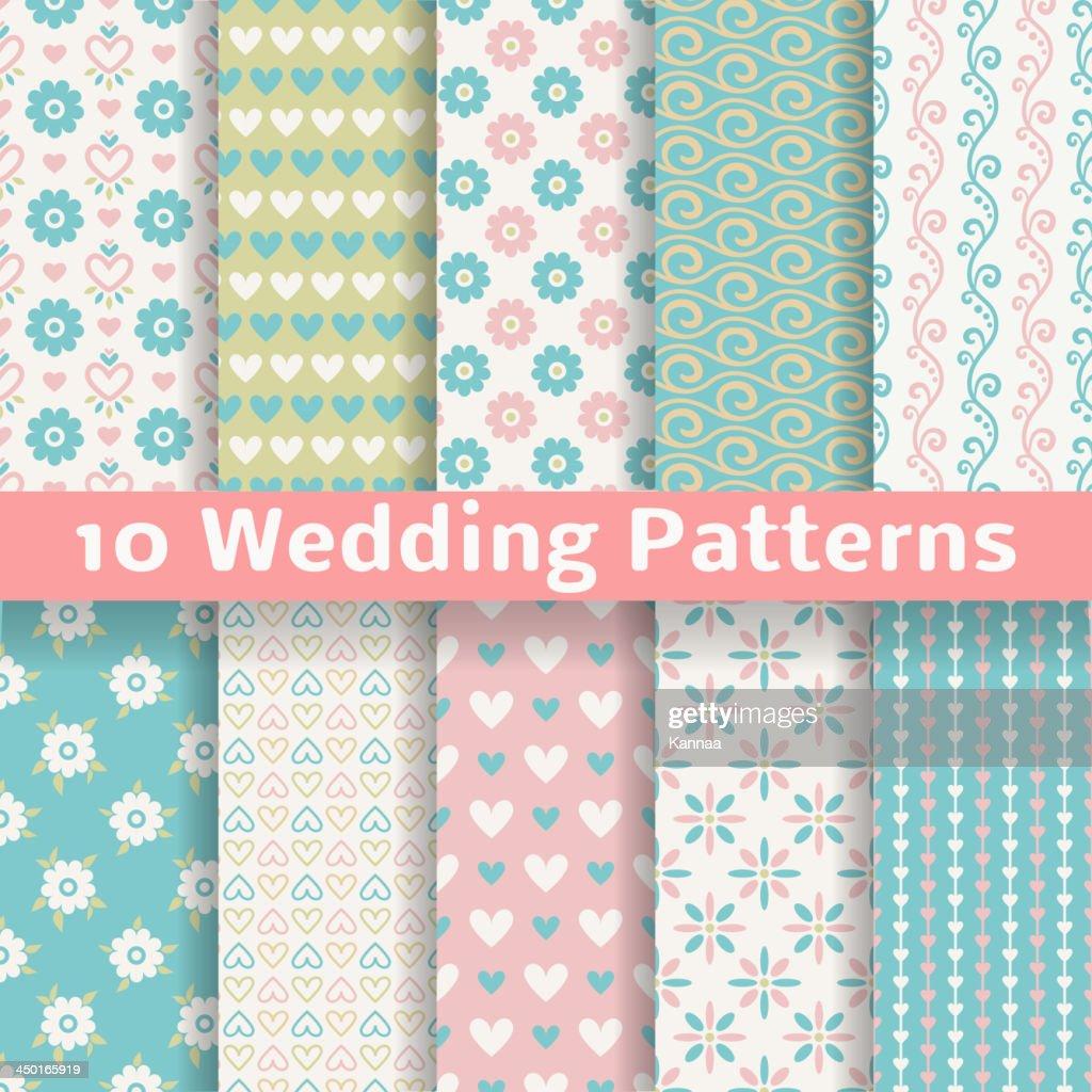 Wedding vector seamless patterns