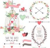 Wedding Vintage Flowers and Birdcage- Illustration