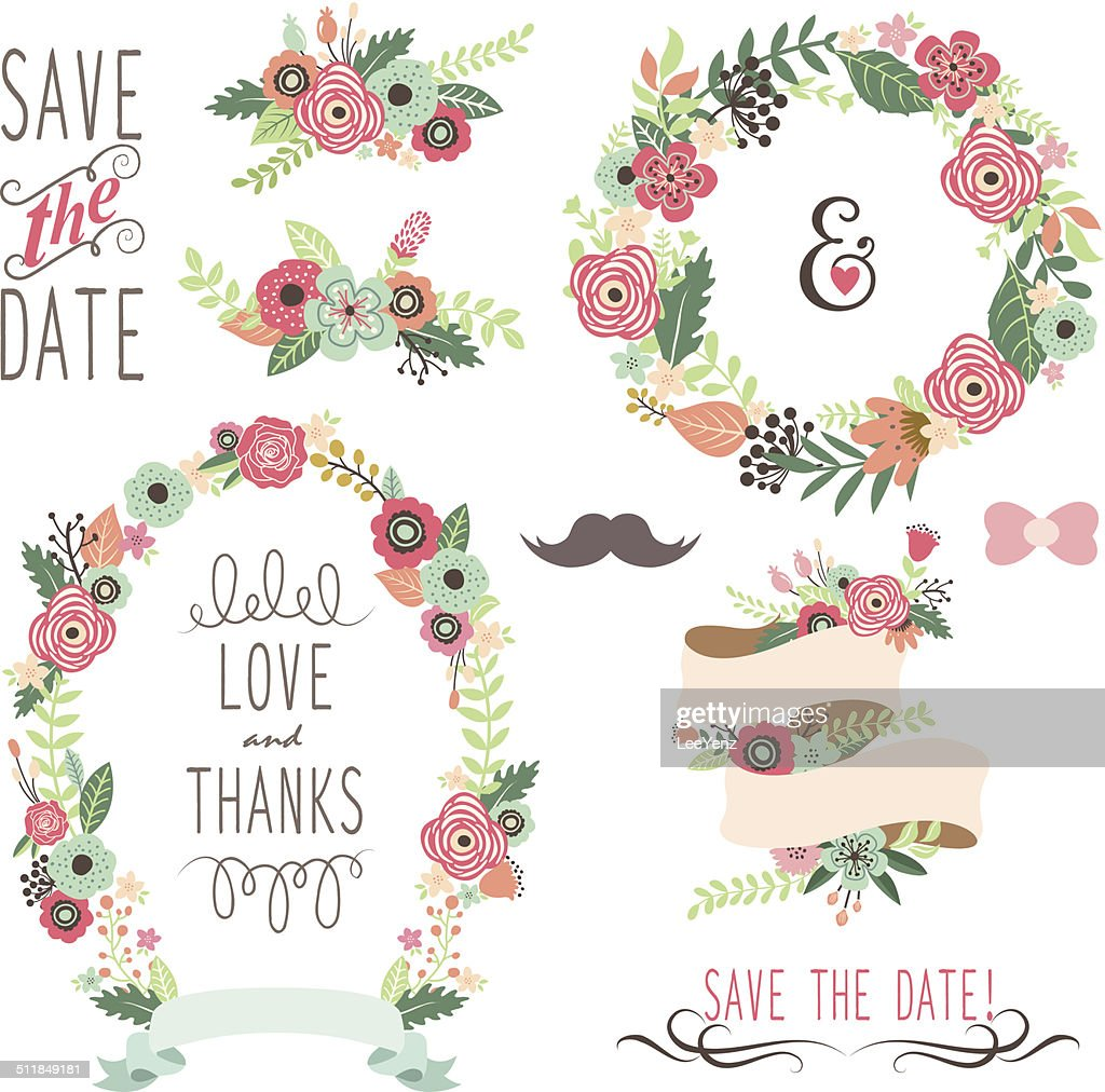 Wedding Vintage Flowers Wreath- illustration