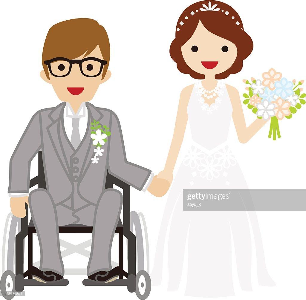 Wedding wheelchair Bridegroom