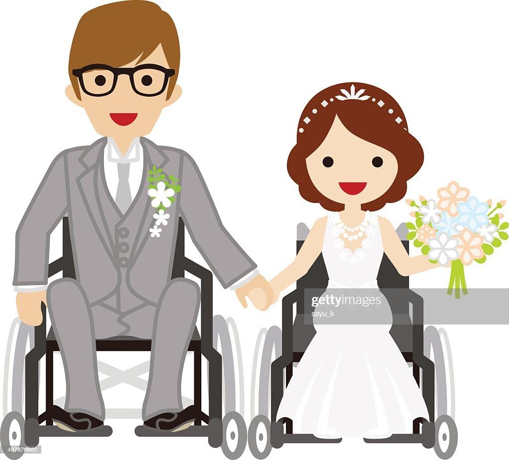 Wedding wheelchair couple