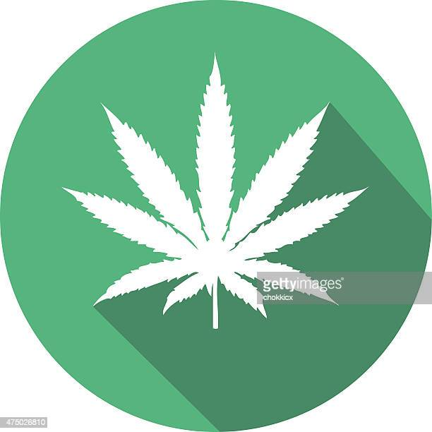 weed or cannabis flat icon in green - cannabis narcotic stock illustrations, clip art, cartoons, & icons