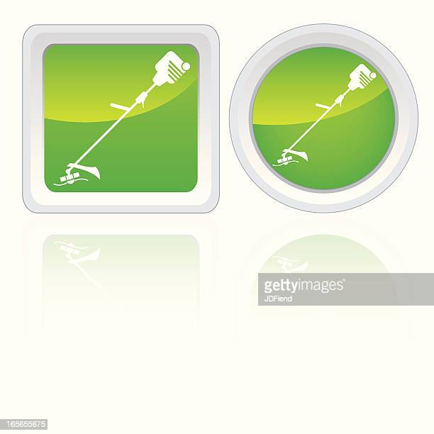 weed trimmer icons - weed wacker stock illustrations, clip art, cartoons, & icons