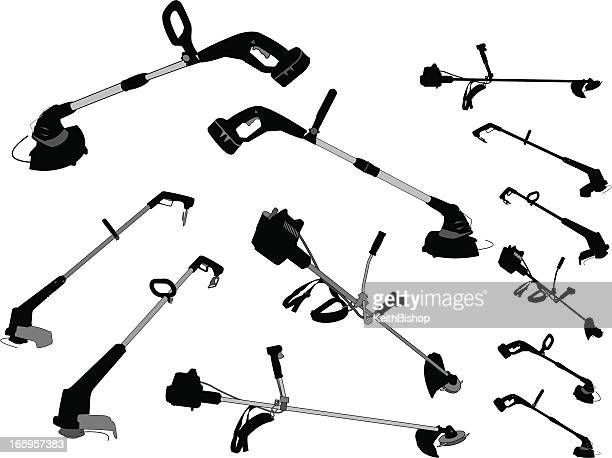 weedwacker, edger, trimmer - gardening equipment - weed wacker stock illustrations, clip art, cartoons, & icons
