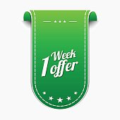 1 Week Offer Green Vector Icon Design
