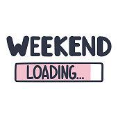 Weekend loading. Vector illustration on white background.