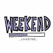 Weekend loading word vector illustration