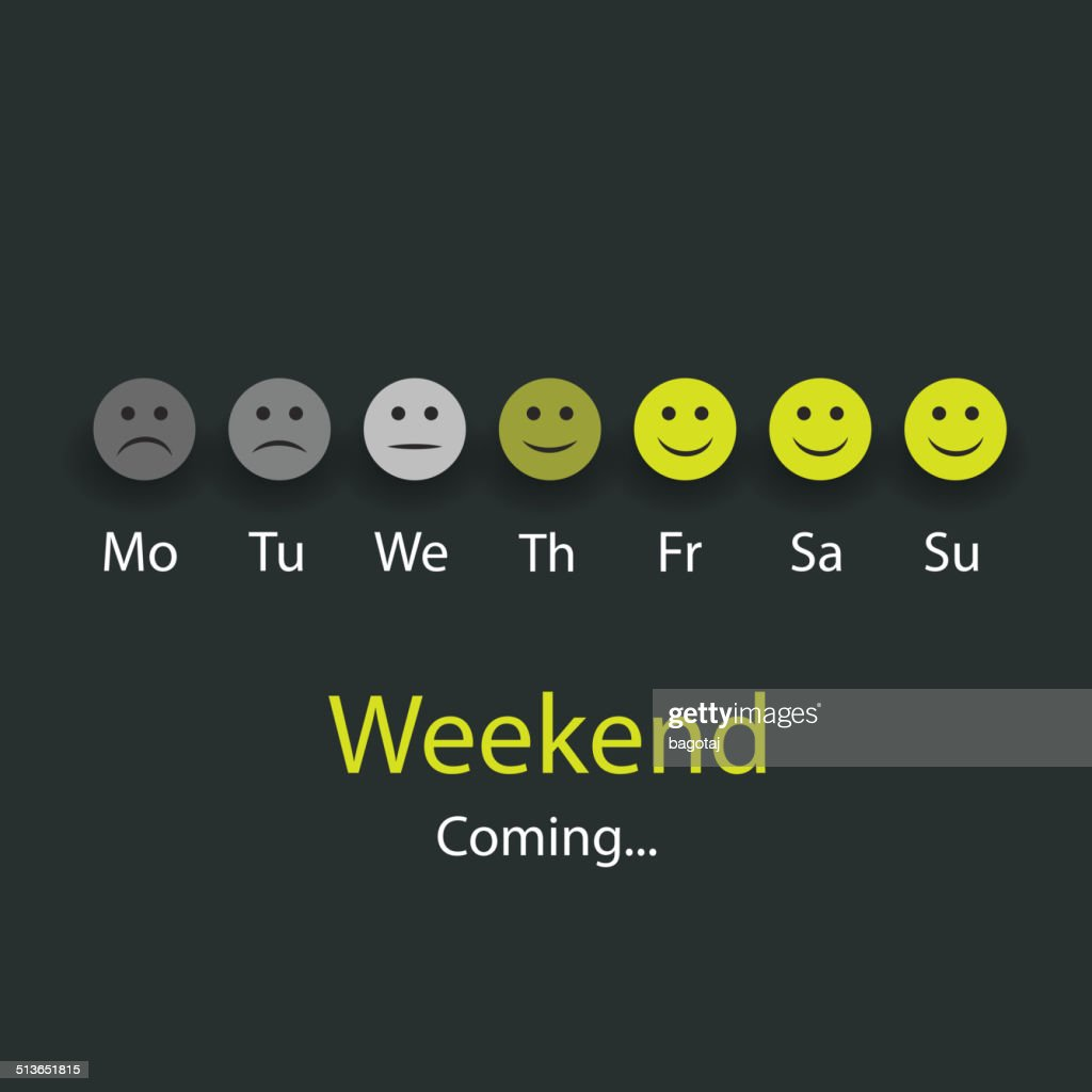 Weekend's Coming - Design Concept with Smiling Faces