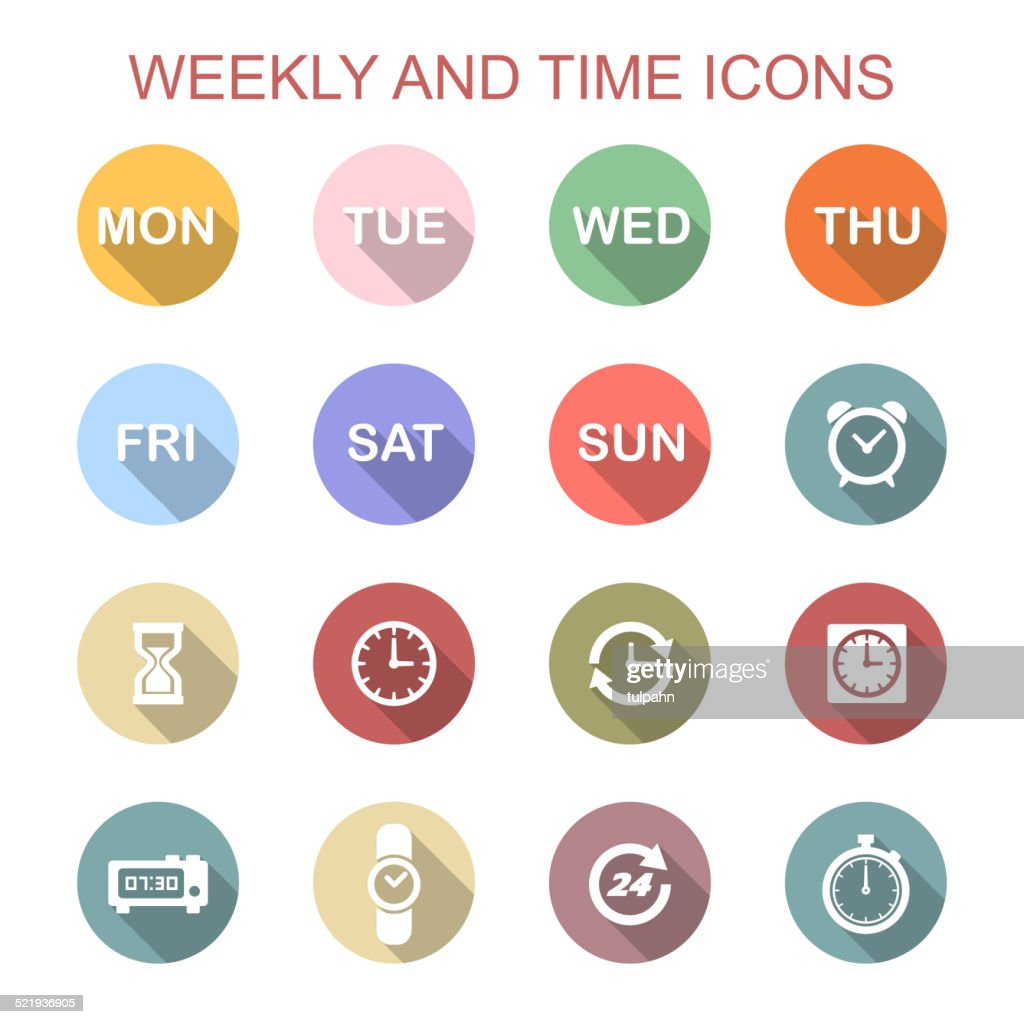 weekly and time long shadow icons