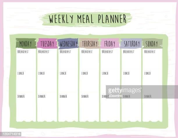 illustrazioni stock, clip art, cartoni animati e icone di tendenza di weekly meal plan calendar organizer design template - agenda