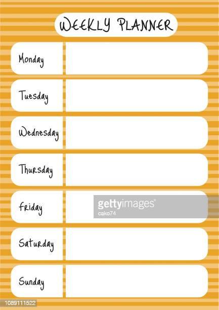 weekly planner design - thursday stock illustrations