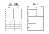 Weekly planner, monthly planner printable pages. Vector organizer template.