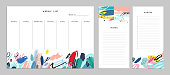 Weekly Planner Template. Organizer and Schedule with Notes and T