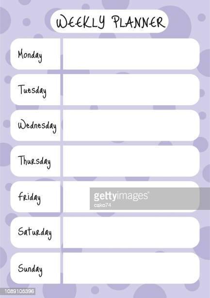 weekly planner vector design - 2019 calendar background stock illustrations