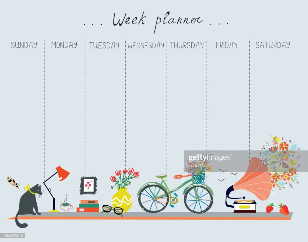 Weekly planner with cute design - home objects, cat, bicycle, flowers, music. Vector  illustration