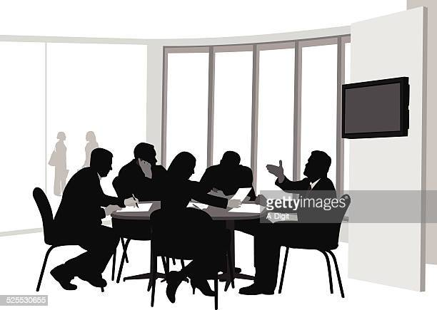 weeklymeeting - conference table stock illustrations, clip art, cartoons, & icons