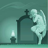 Weeping Angel Statue - Graveyard