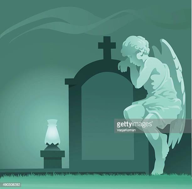 weeping angel statue - graveyard - humourless stock illustrations, clip art, cartoons, & icons