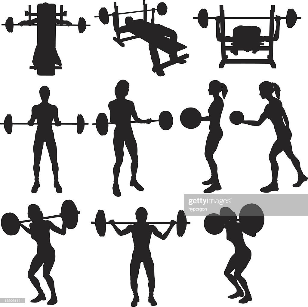 Weigh Lifting Silhouette Collection (vector+raster) : stock illustration