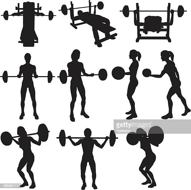 weigh lifting silhouette collection (vector+raster) - weight training stock illustrations