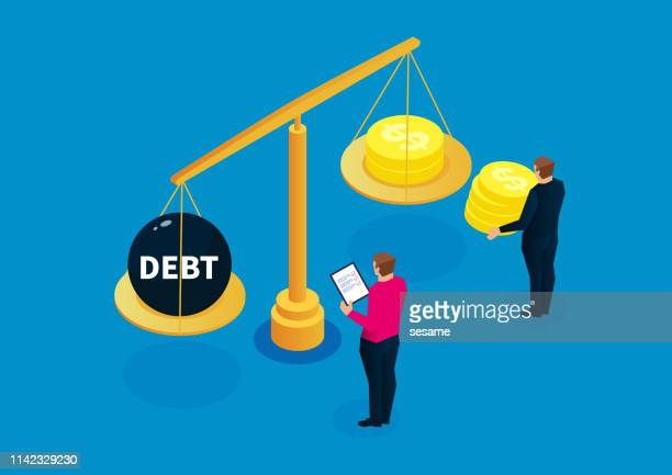 weighing, balance, debt statistics - scale stock illustrations