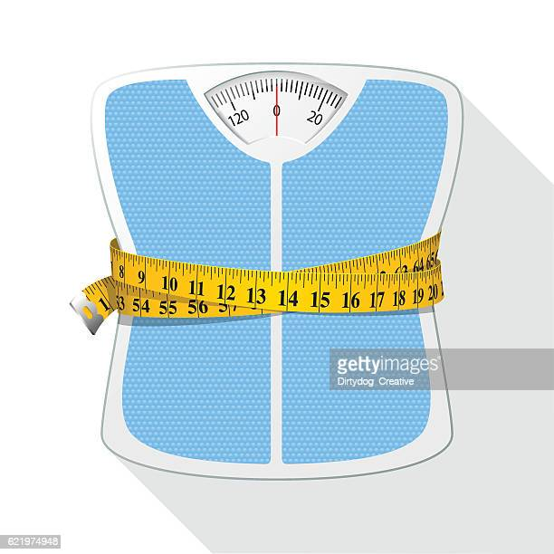 weighing scales & tape measure / diet concept - scales stock illustrations