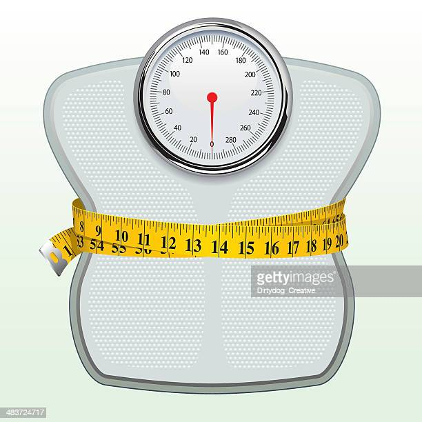 weighing scales & tape measure - scales stock illustrations