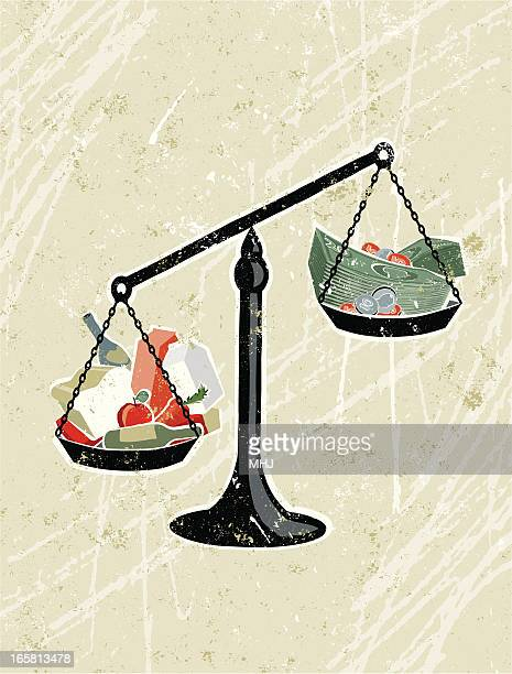 weighing scales with groceries and money - inflation stock illustrations