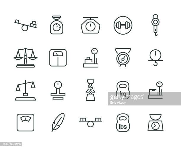 weight icon set - scales stock illustrations