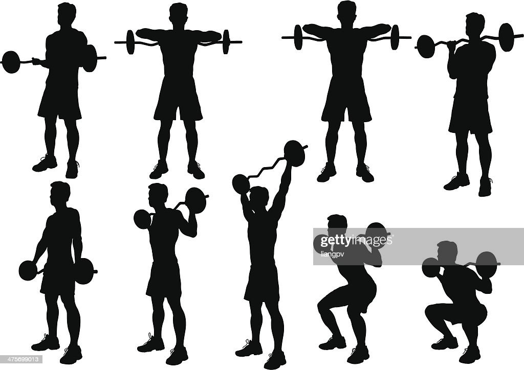 weight lifting silhouette vector art