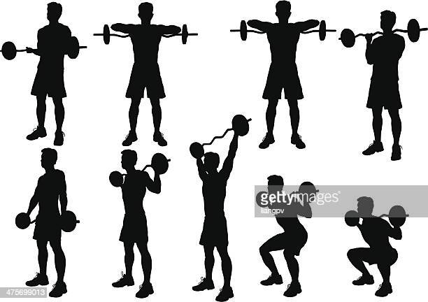 weight lifting silhouette - weight training stock illustrations