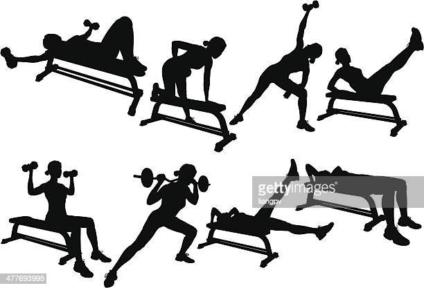 weight lifting silhouette - sports hall stock illustrations