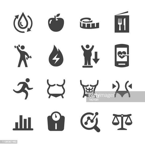 weight loss and fitness icons - acme series - abdominal muscle stock illustrations, clip art, cartoons, & icons