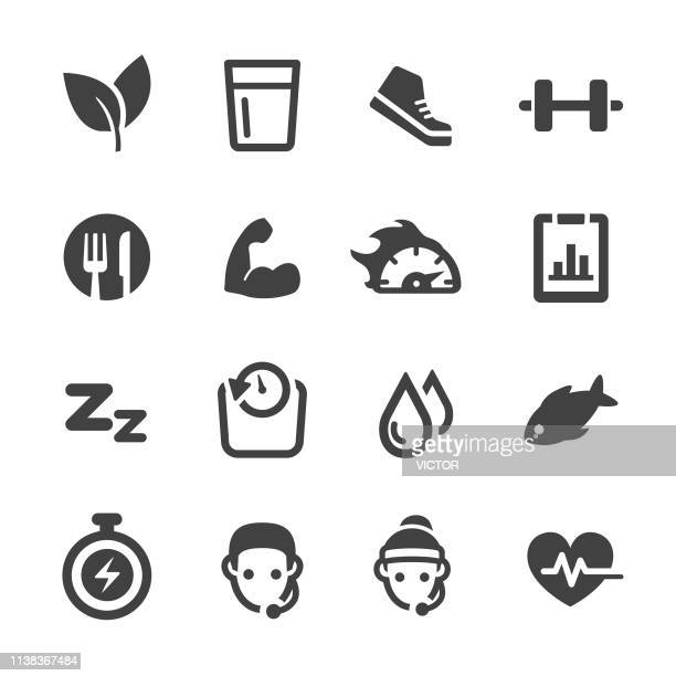 weight loss and fitness icons set - acme series - healthy eating stock illustrations